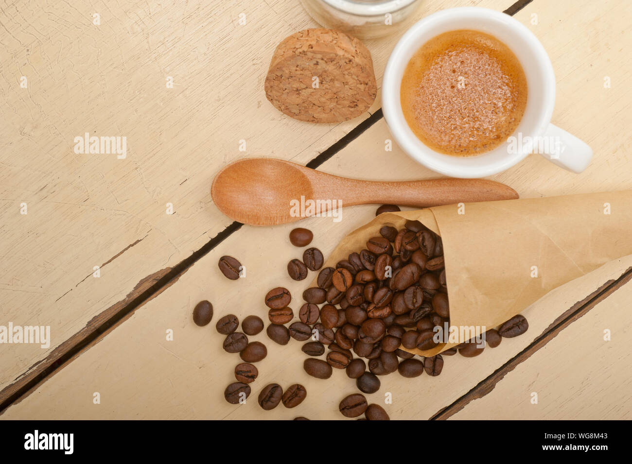 Directly Above Of Coffee With Ingredients On Table Stock Photo