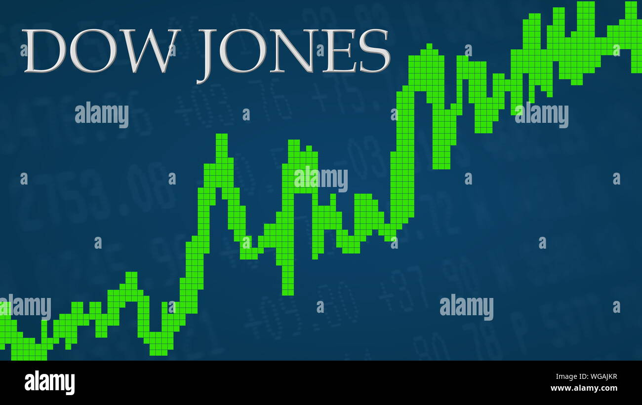 The American Stock Market Index Dow Jones Is Going Up The Green Graph Next To The Silver Dow Jones Title On A Blue Background Is Showing Upwards And Stock Photo Alamy