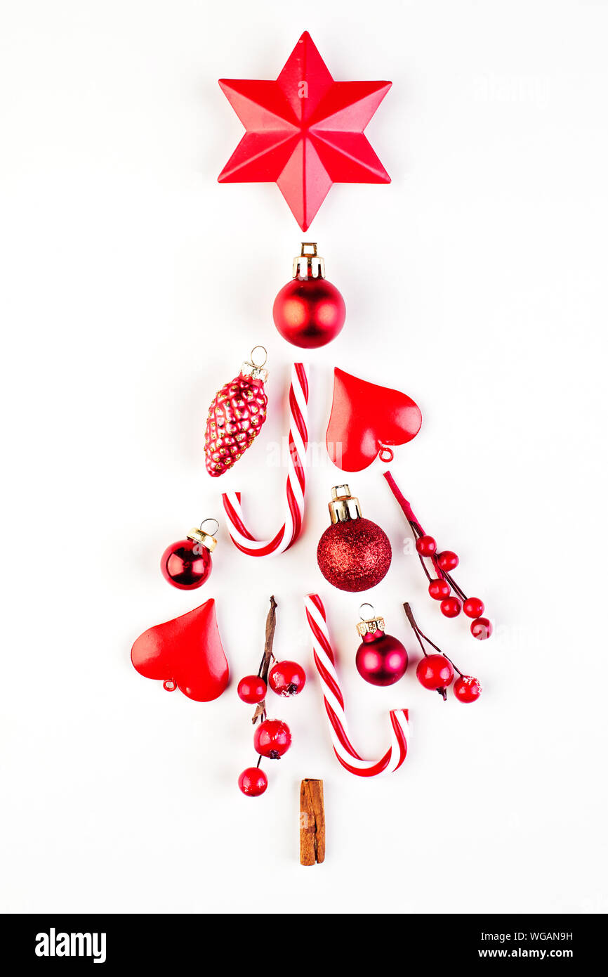 Red Christmas Tree Composition On White Minimal Card On Black Background Stock Photo Alamy