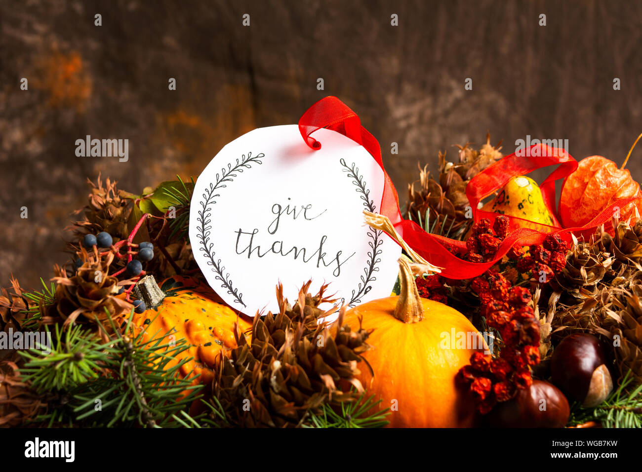 Thanksgiving Day Card With Festive Autumn Decorations Stock