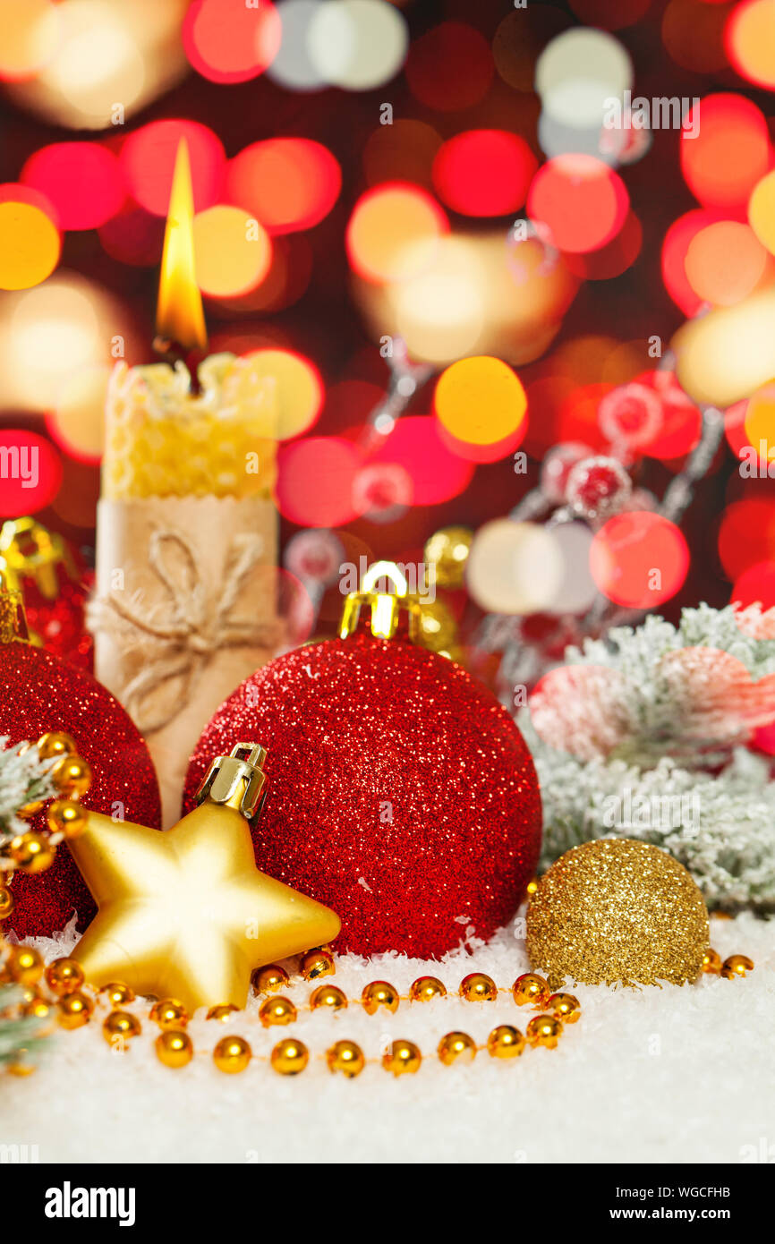 Colorful Christmas Background Design.Colorful Christmas Background Xmas Composition With Candle