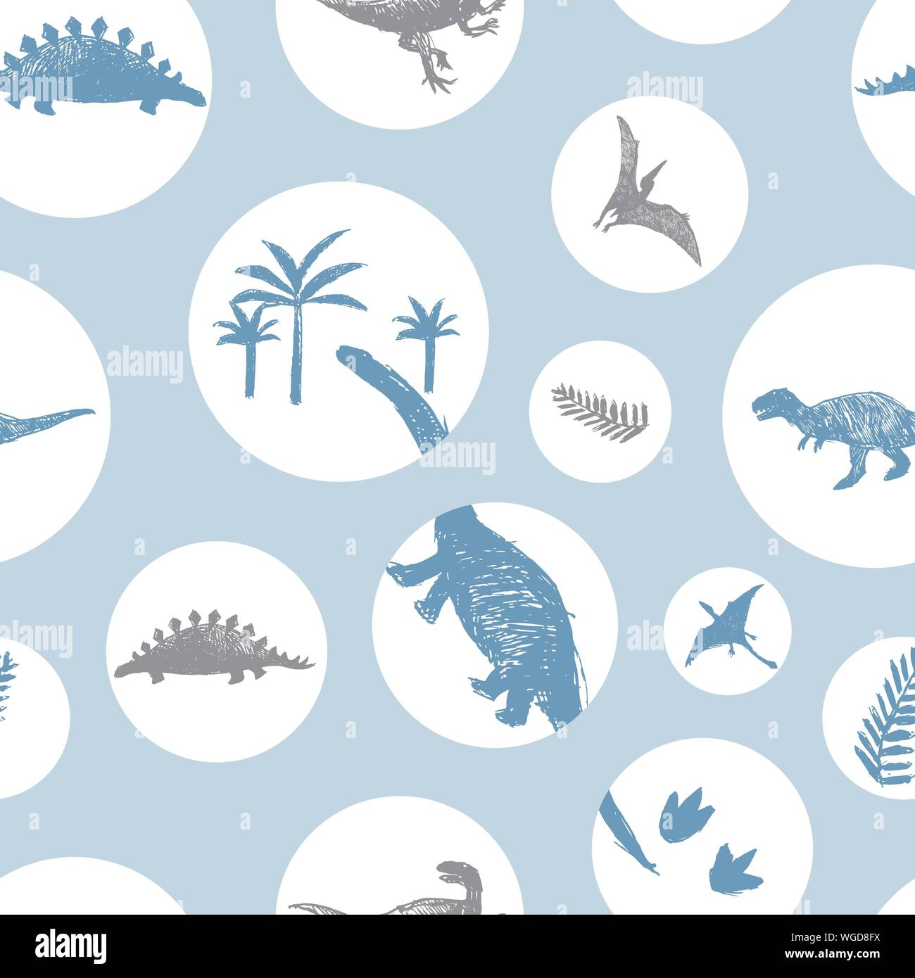 Vector light blue circles dinosaur sketch repeat pattern. Perfect for textile, giftwrap and wallpaper. Stock Vector
