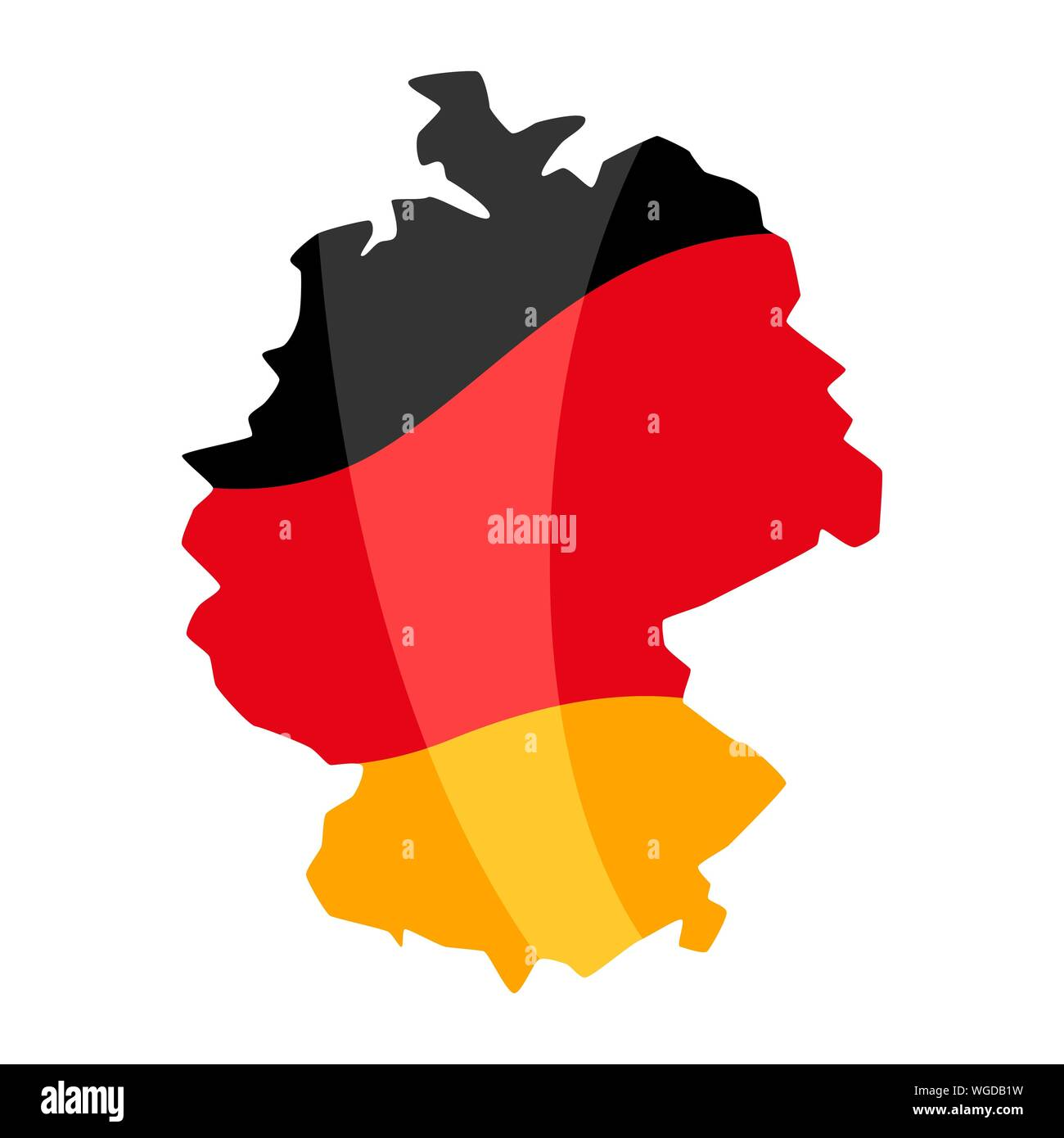 Map in the colors of the German flag. National decorative object. Stock Vector