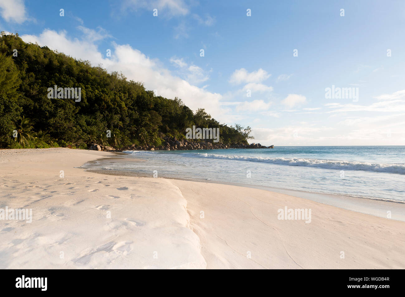 Beach panorama at the Ocean, Seychelles islands Stock Photo