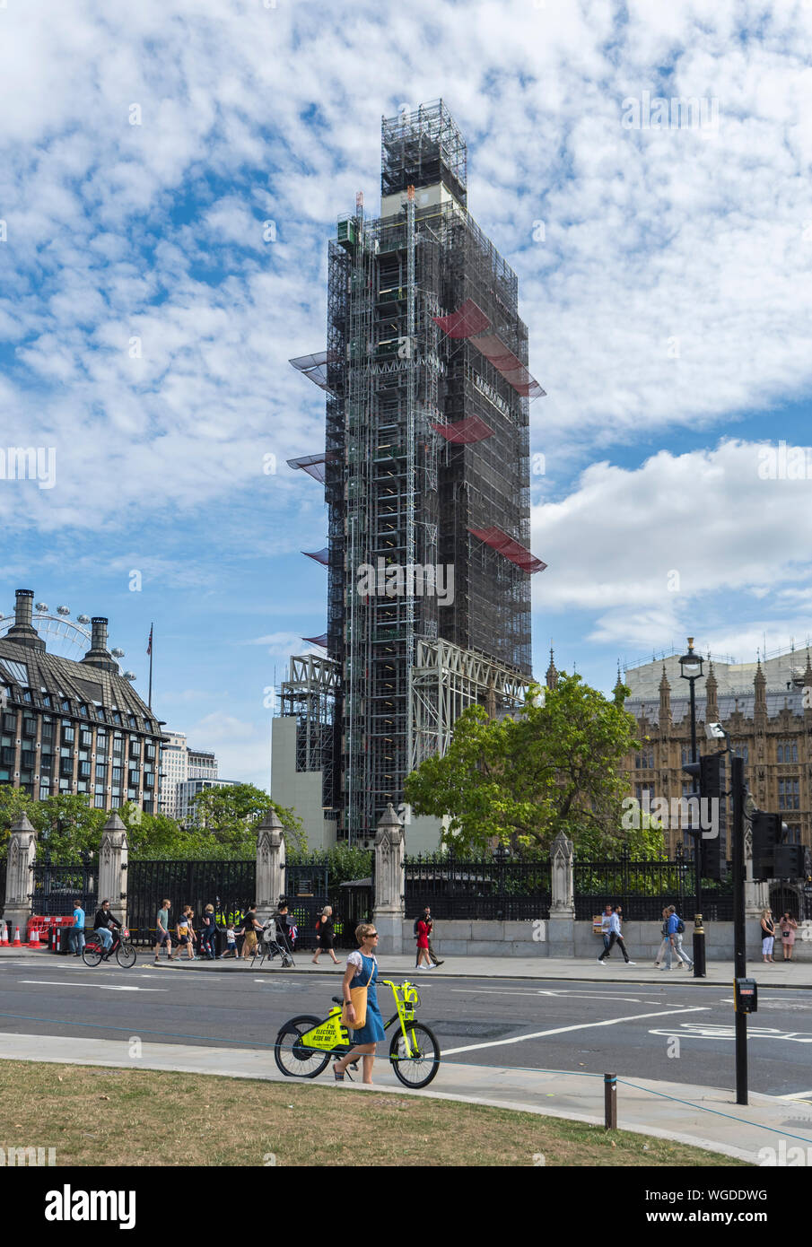 Scaffolding around Elizabeth Tower for restoration, renovations, repairs at Palace of Westminster, London, UK. Big Ben London. Covered in scaffolding. Stock Photo