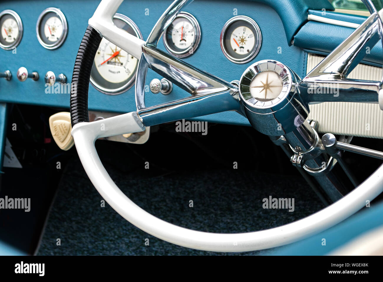 Close Up Of Vintage Boat Steering Wheel Stock Photo Alamy