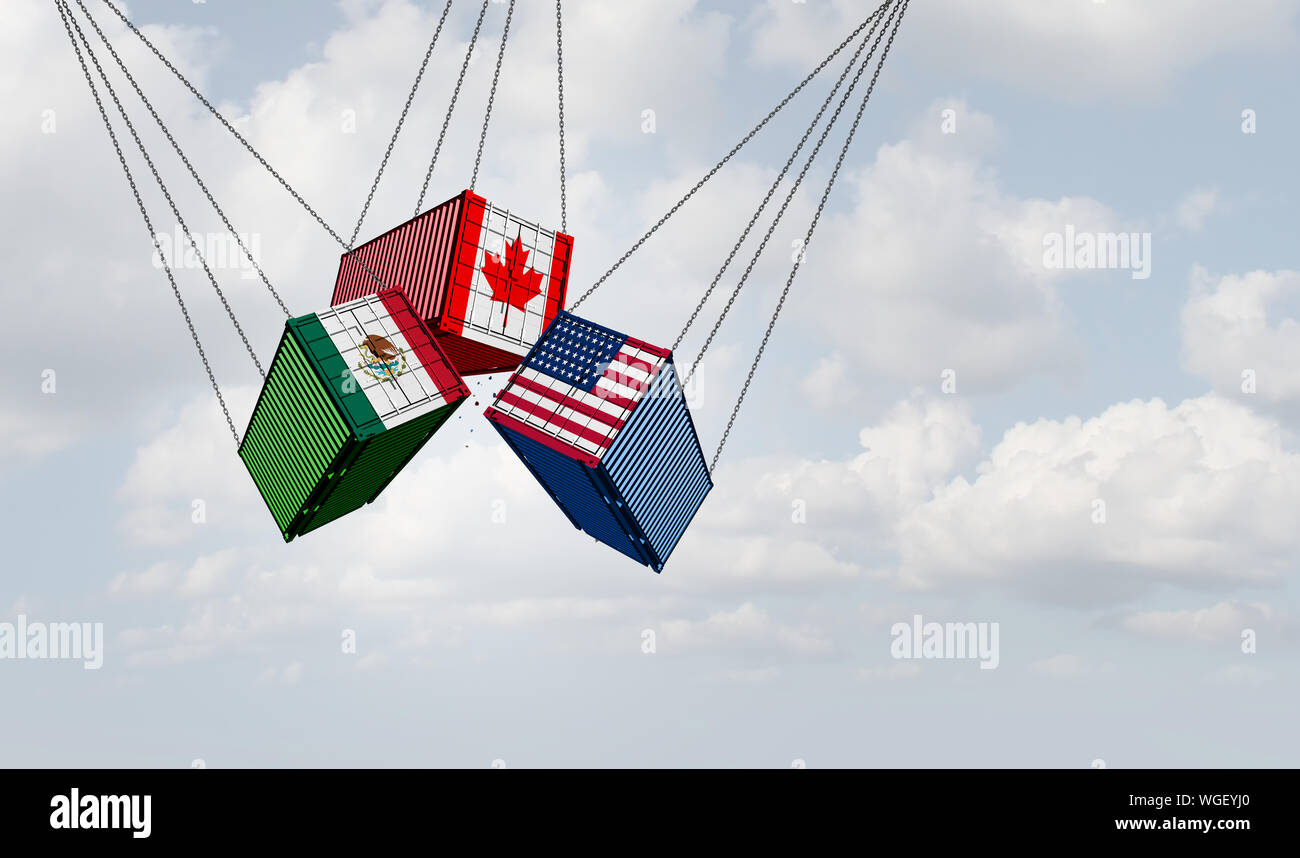 USMCA north america or the new NAFTA United States Mexico Canada agreement symbol with flags as a trade deal negotiation and economic deal. Stock Photo