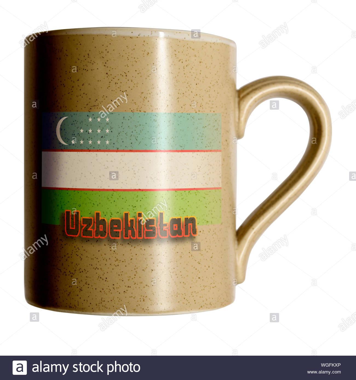 Flag of Uzbekistan on Personal cup, Blandford, Dorset, England, UK Stock Photo