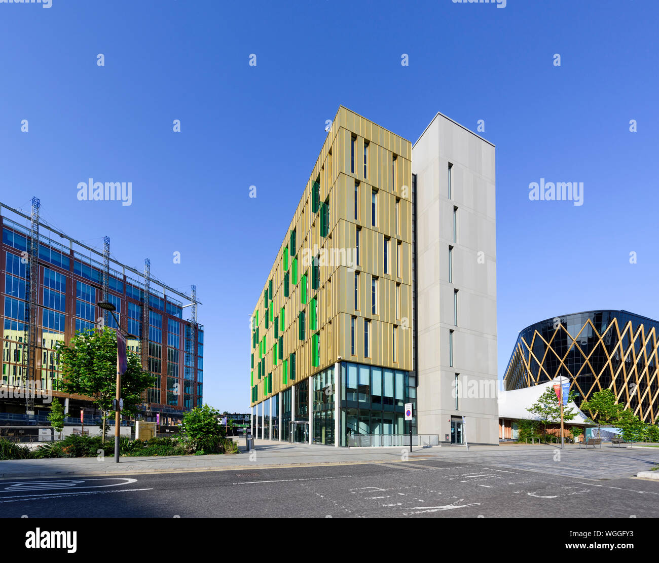 Modern architecture - The Core offfice & event building at Newcastle Helix the  Science City in Newcastle upon Tyne developed by Newcastle University Stock Photo