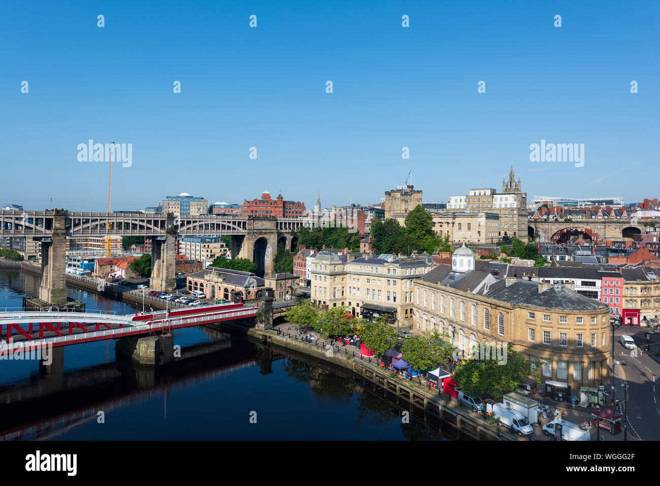 Newcastle upon Tyne skyline. This cityscape is viewed from the Tyne Bridge Stock Photo