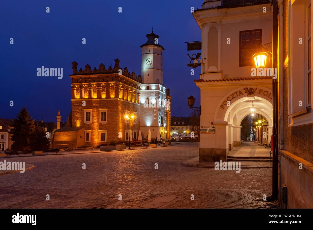 Sandomierz by night, the gothic town hall, Poland Stock Photo