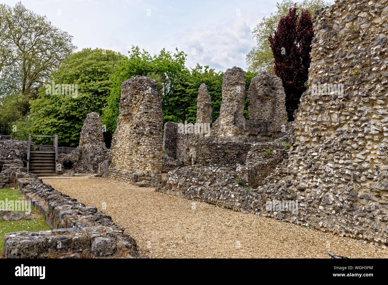 Wolvesey Castle (Old Bishop's Palace) - Monumental remains of a 12th-century palace, once the residence of the bishops of Winchester City - England - Stock Photo