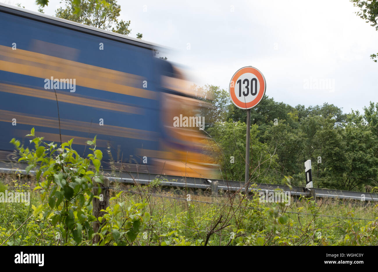 speed limit sign 130 at autobahn, highway Germany Stock Photo
