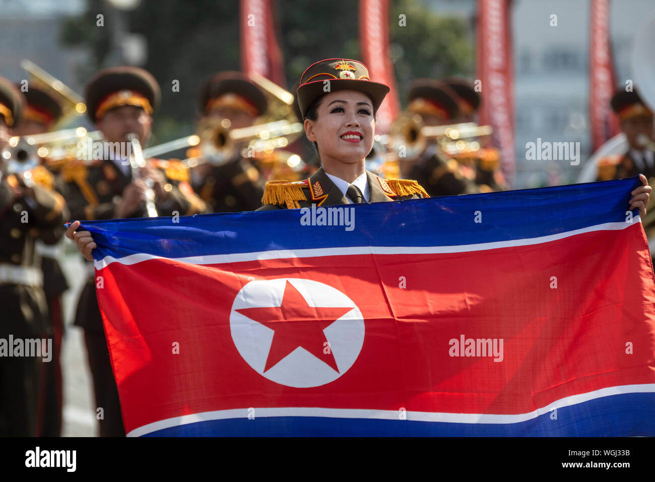 The Military Band of the North Korean People's Army perform during the 12th Spasskaya Tower International Military Music Festival in Moscow Stock Photo