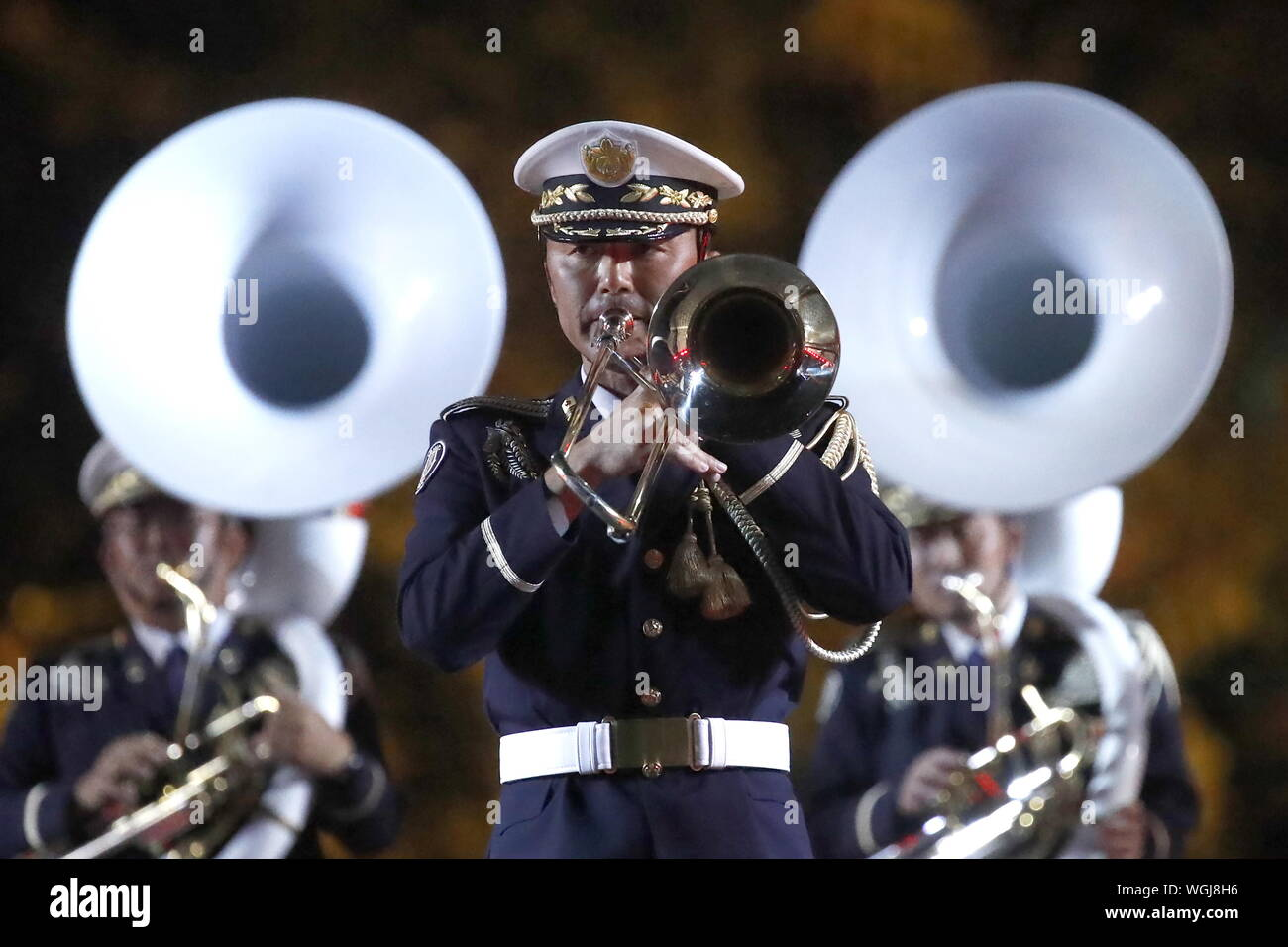 Moscow, Russia. 01st Sep, 2019. MOSCOW, RUSSIA - SEPTEMBER 1, 2019: The Japan Ground Self-Defense Force (JGSDF) Central Band perform during the closing ceremony of the 12th Spasskaya Tower International Military Music Festival in Red Square. Artyom Geodakyan/TASS Credit: ITAR-TASS News Agency/Alamy Live News Stock Photo