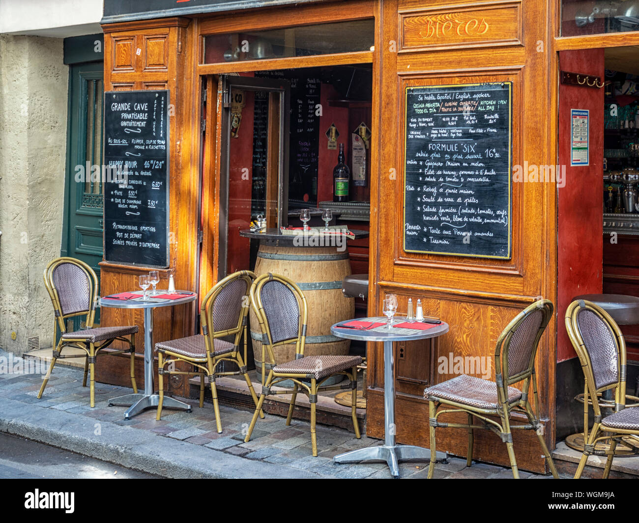 Paris France Tables And Chairs Outside Small Street Cafe Bar Stock Photo Alamy
