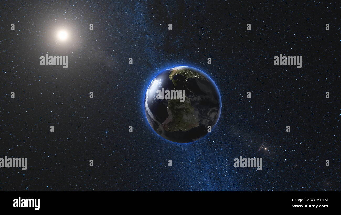 Planet Earth And Moon Rotating And Approach In Open Space Blue Milky Way In Background High Detail 4k 3d Render Animation Elements Of This Image Furnished By Nasa Astronomy Science Concept Stock