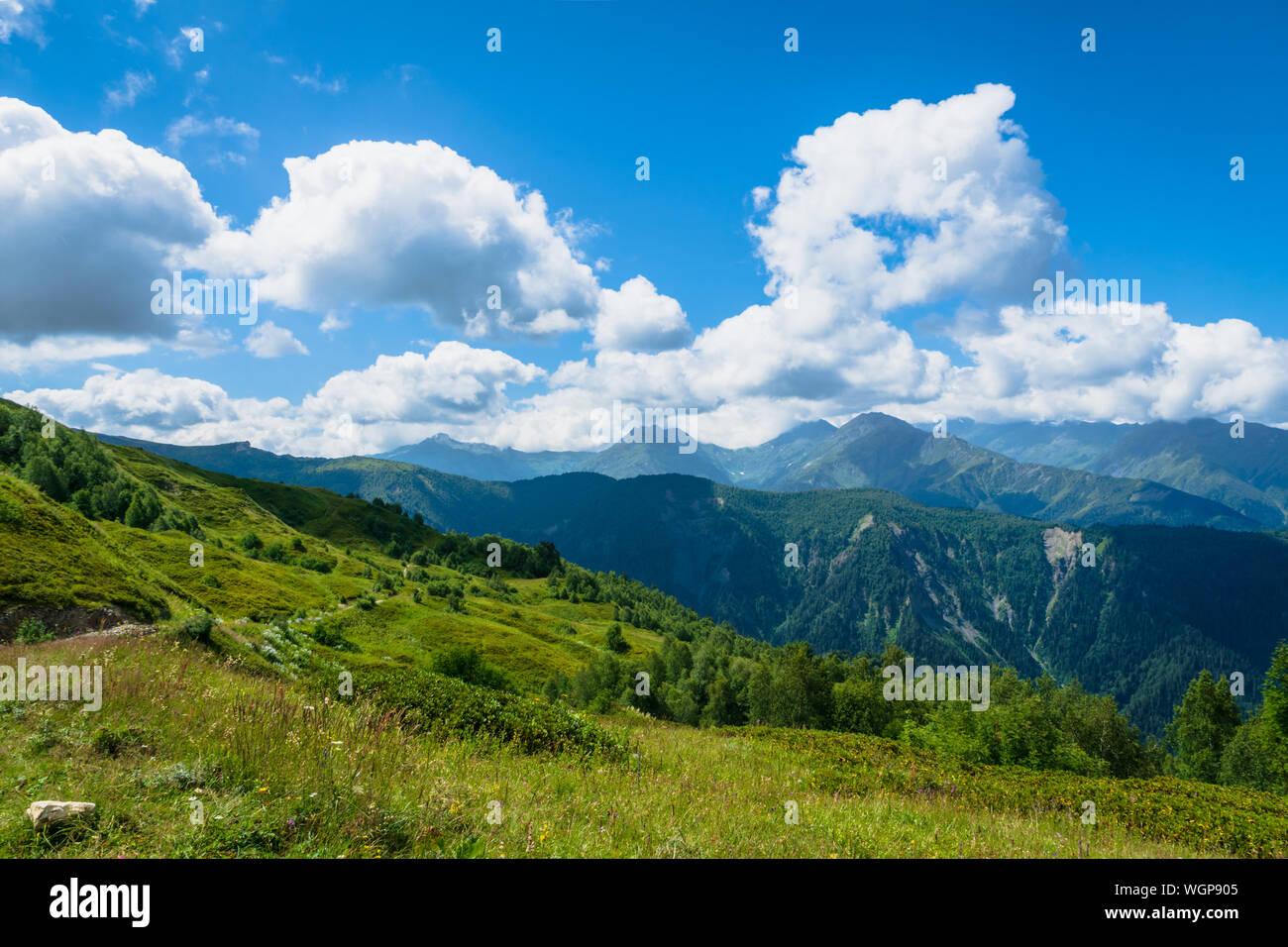 Svaneti landscape with mountains on the trekking and hiking route near Mestia village in Svaneti region, Georgia. Stock Photo