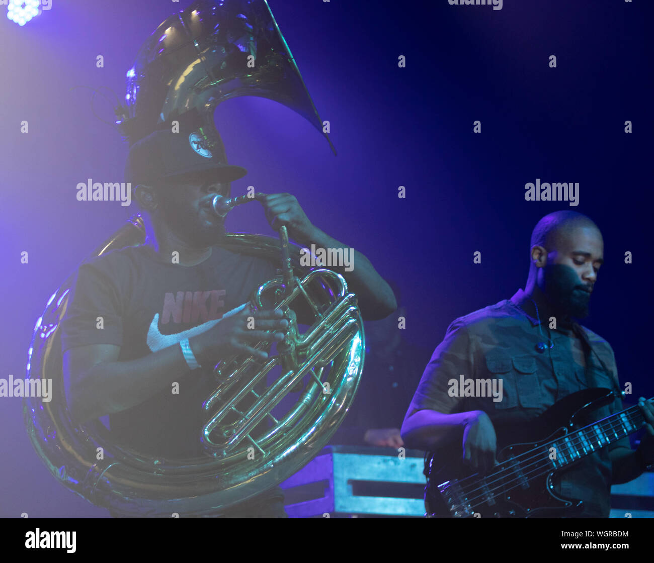 August 30, 2019: Damon ''Tuba Gooding Jr.'' Bryson (L) and Mark Kelley (R) of The Roots perform. (Credit Image: © Rishi DekaZUMA Wire) Stock Photo