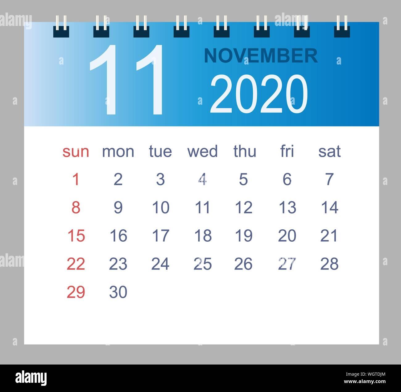 Week Calendar Template   November 2020 Vector Monthly Calendar Template 2020 Year In
