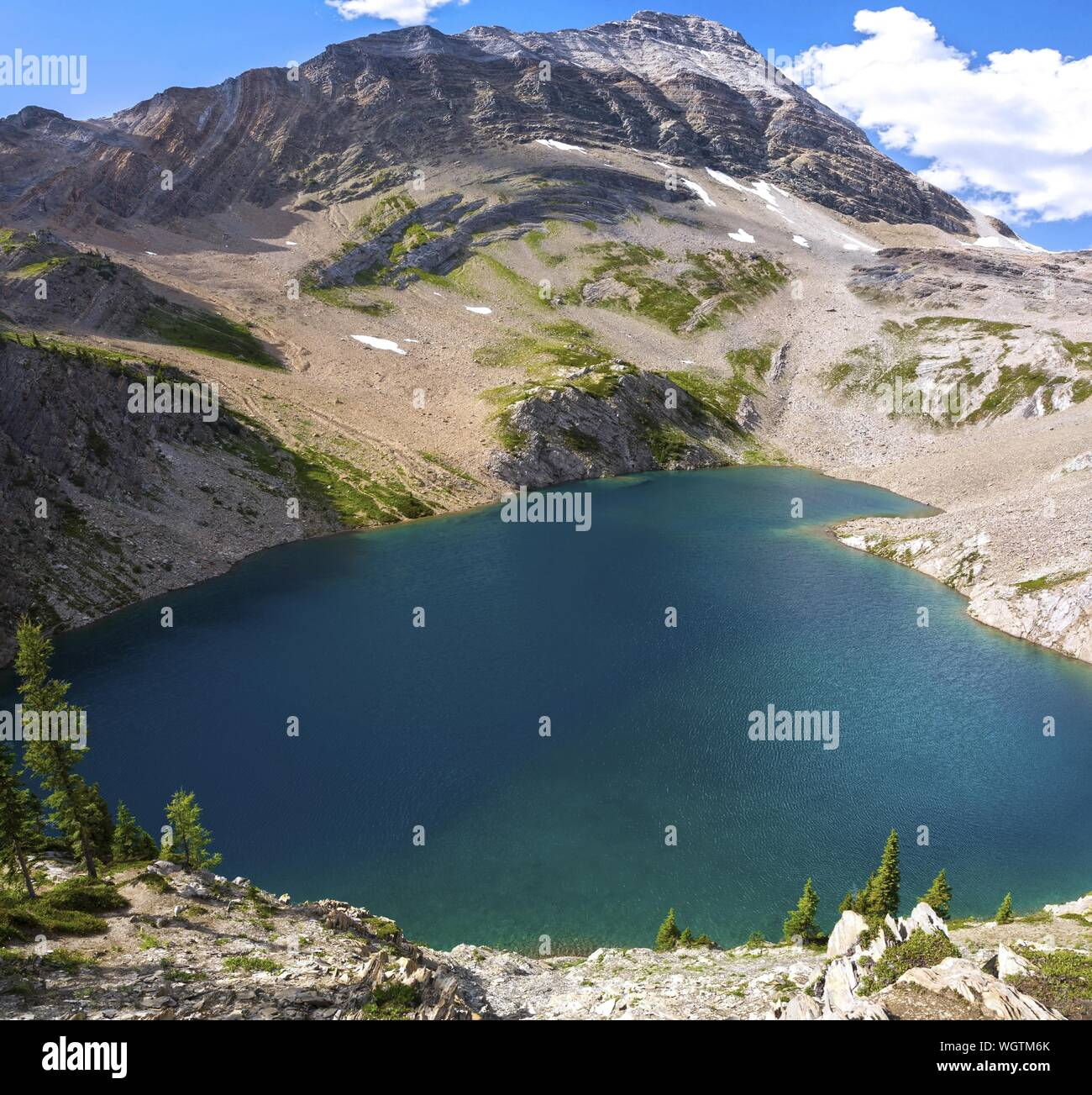 Aerial Landscape View of Beautiful Hamilton Lake and Mount Carnarvon Peak in Yoho National Park, Canadian Rocky Mountains Stock Photo