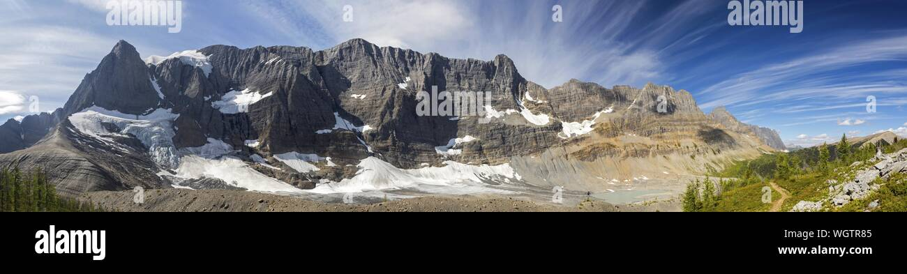 Wide Panoramic Landscape View Rockwall Mountain Cliffs Alpine Meadows Great Summertime Hiking Trail Kootenay National Park, Canadian Rockies Stock Photo