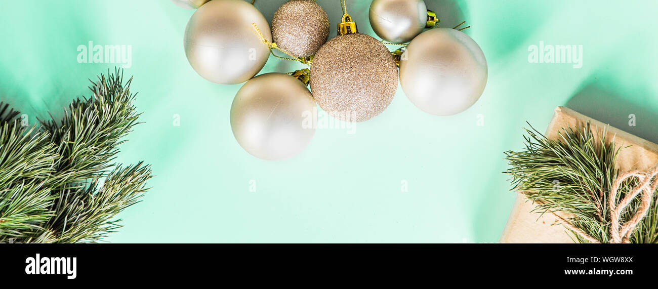 Top Christmas Toys 2020.Christmas Golden Toys On Pastel Green Background Banner For