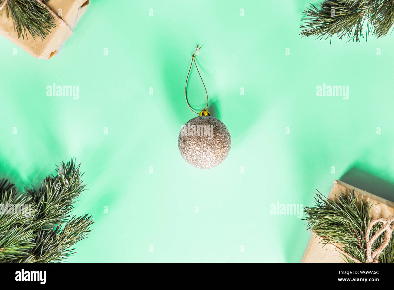 Top Christmas Toys 2020.Christmas Golden Toy On Pastel Green Background New Year