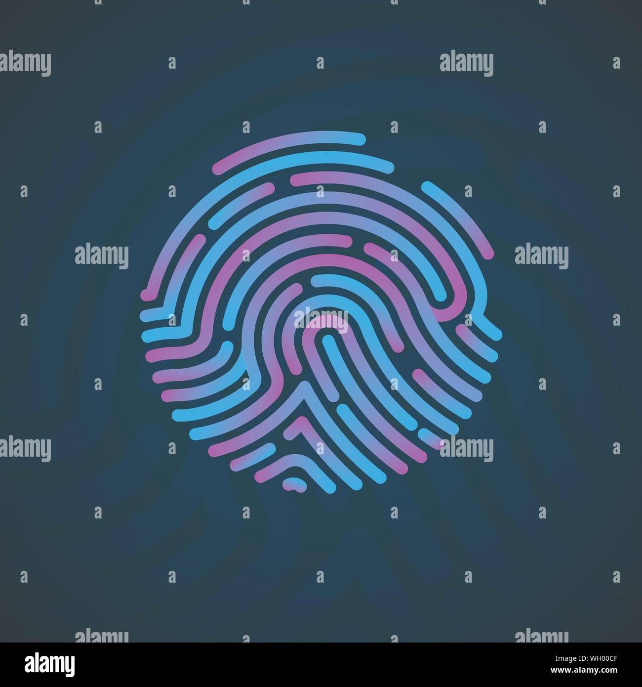 Cyber Security Finger Print Scanned. Fingerprint Scanning Identification System. Biometric Authorization and Security Concept. Vector illustration Stock Vector