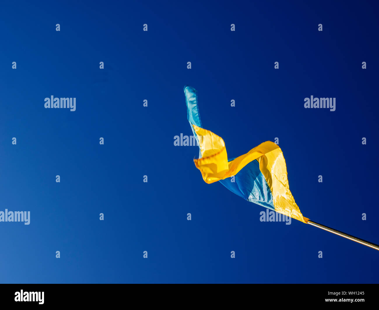 Low Angle View Of Ukrainian Flag Waving Against Clear Blue Sky Stock Photo