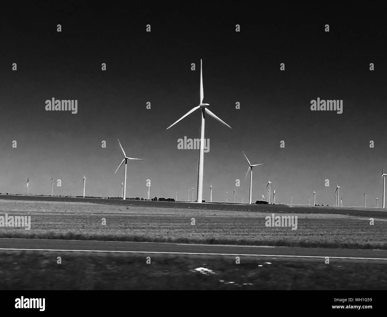 Wind Turbines On Field Stock Photo