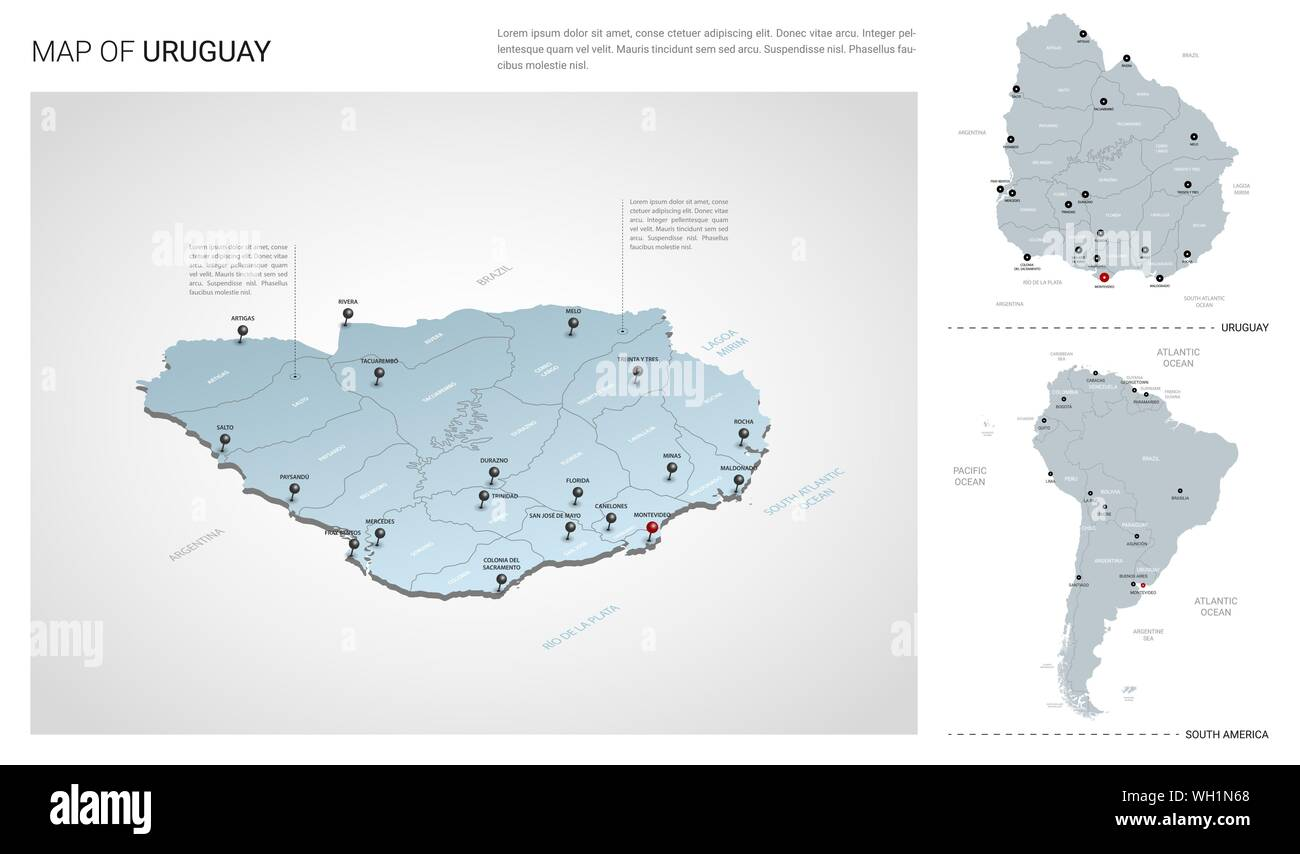Vector set of Uruguay country. Isometric 3d map, Uruguay map ...