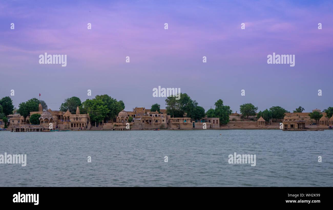 Sunset at Gadisar Lake in Jaisalmer, Golden City Stock Photo