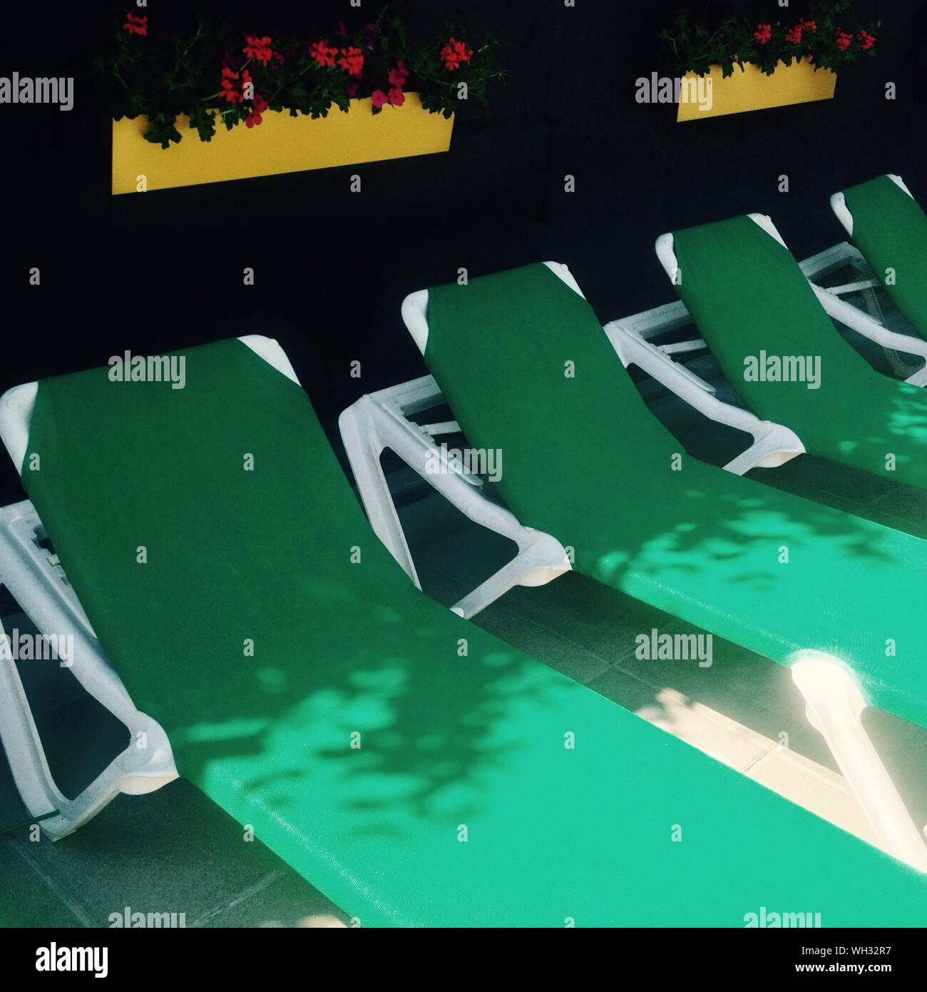 High Angle View Of Lounge Chairs Stock Photo