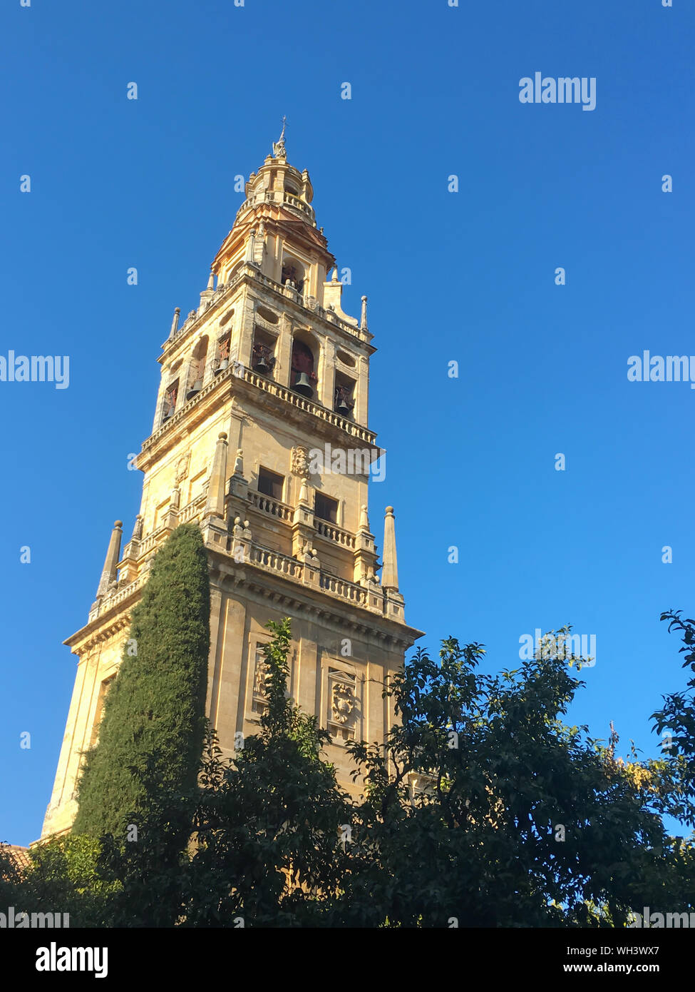 Bell tower of the Cathedral Great Mosque of Cordoba, Andalusia, Spain Stock Photo