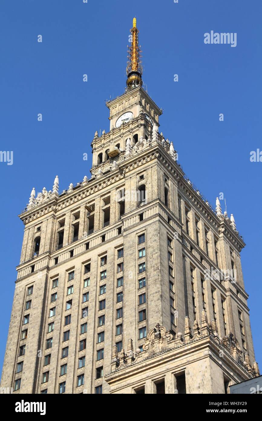 WARSAW, POLAND - SEPTEMBER 8: Palace of Culture and Science on September 8, 2010 in Warsaw. The palace is an example of stalinist architecture and is Stock Photo