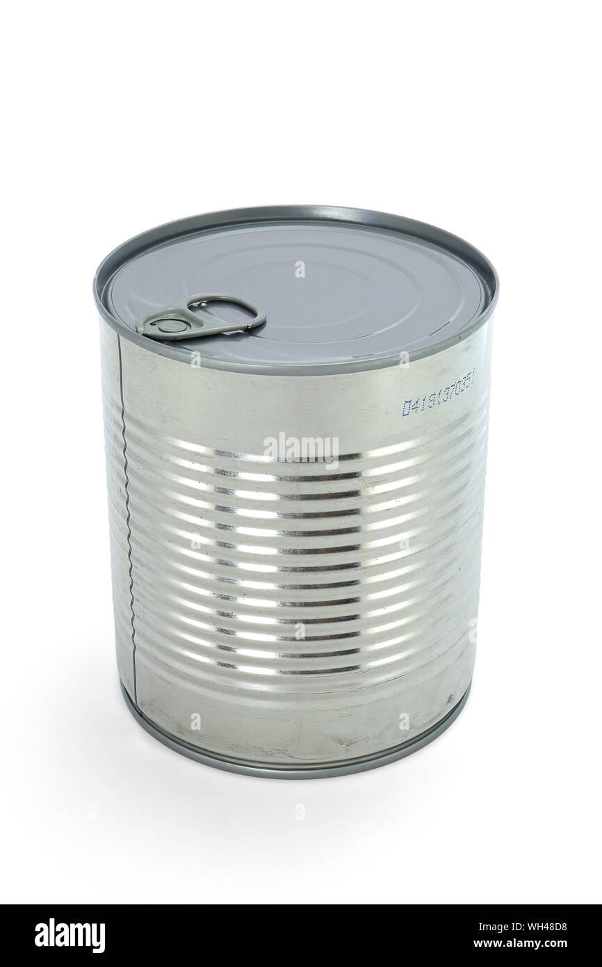 Boîte de conserve inox aluminium tri sélectif emballages emballage en métal isolé fond blanc éclairage studio métallique pasteurisation hygiène Stock Photo