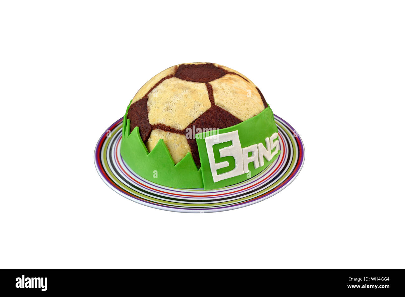 Admirable Beautiful Soccer Ball Birthday Cake For The Fifth Anniversary 5 Funny Birthday Cards Online Inifodamsfinfo