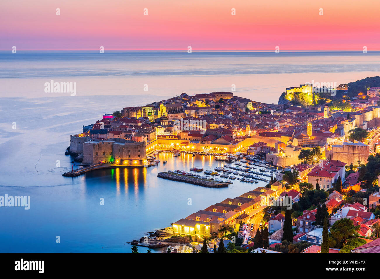 Dubrovnik, Croatia. A panoramic view of the walled city at sunset. Stock Photo
