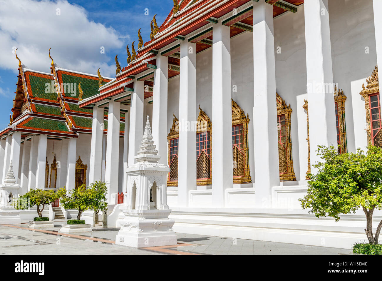 Big Thai style stupa (chediI) at Wat Thepthidaram, Bangkok, Thailand. Stock Photo