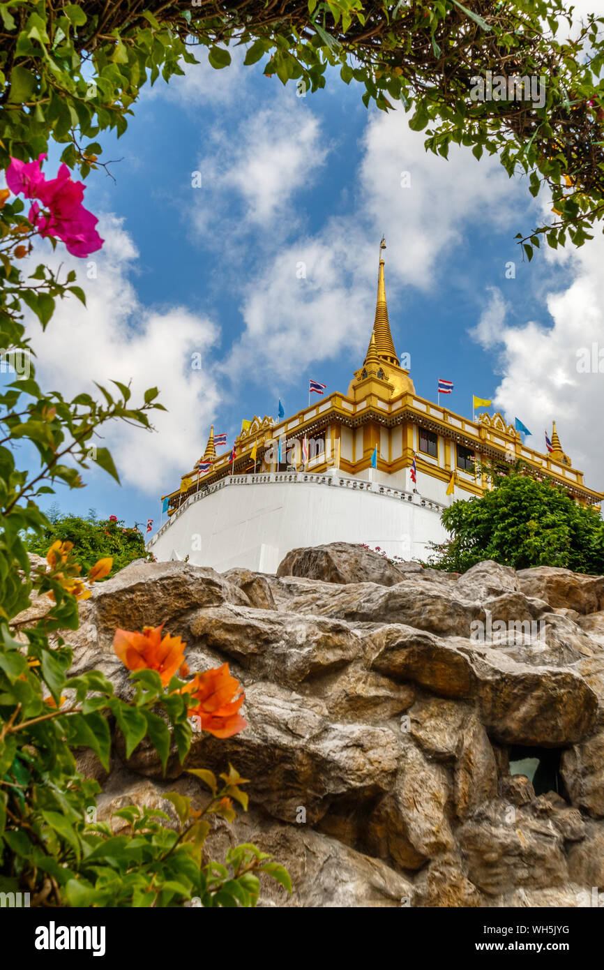 Wat Saket Ratcha Wora Maha Wihan or Golden Mountain, Buddhist temple (wat). Bangkok, Thailand. Stock Photo