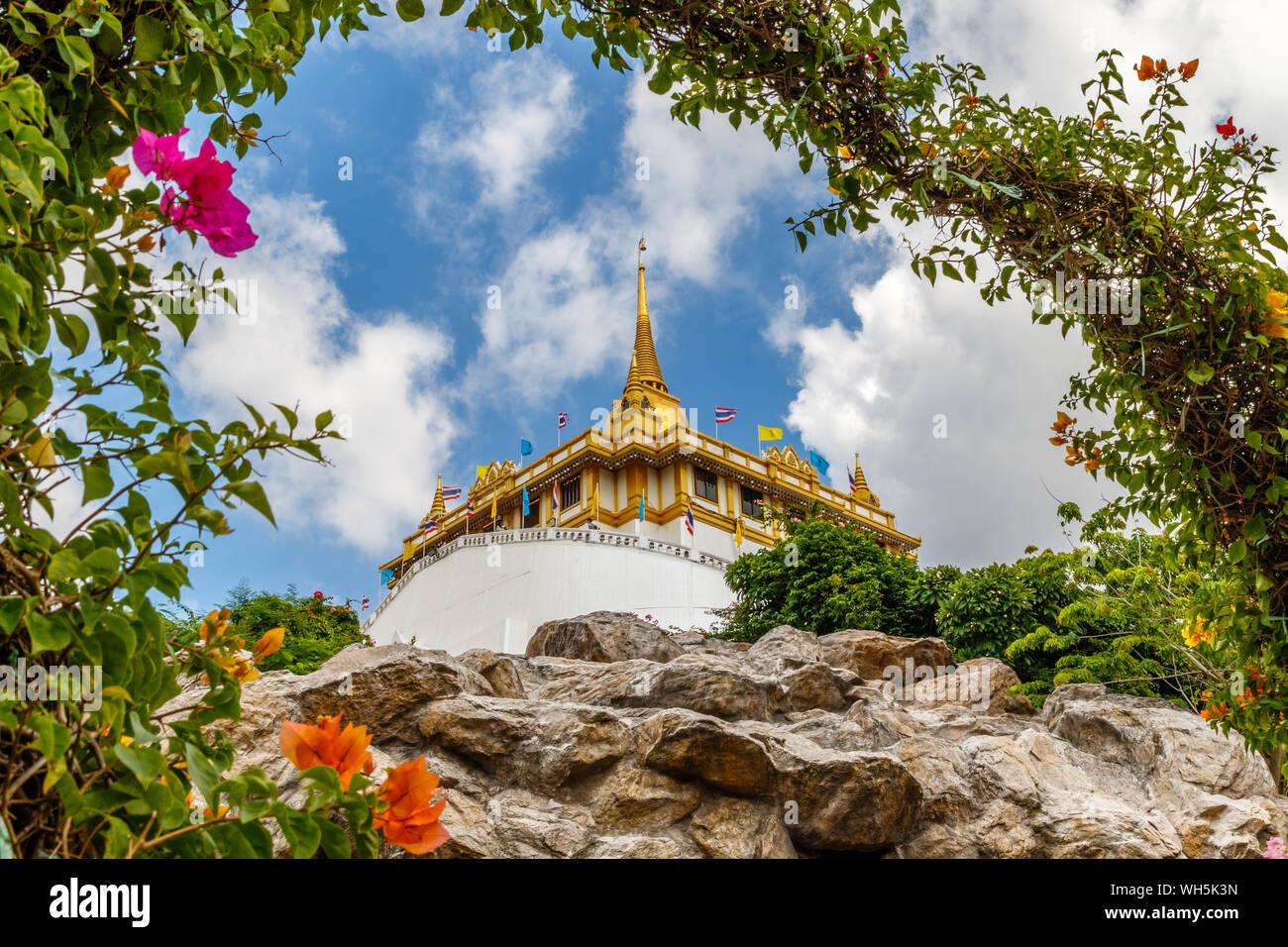 Wat Saket Ratcha Wora Maha Wihan or Golden Mountain, Buddhist temple (wat). Bangkok, Thailand. Stock Photo