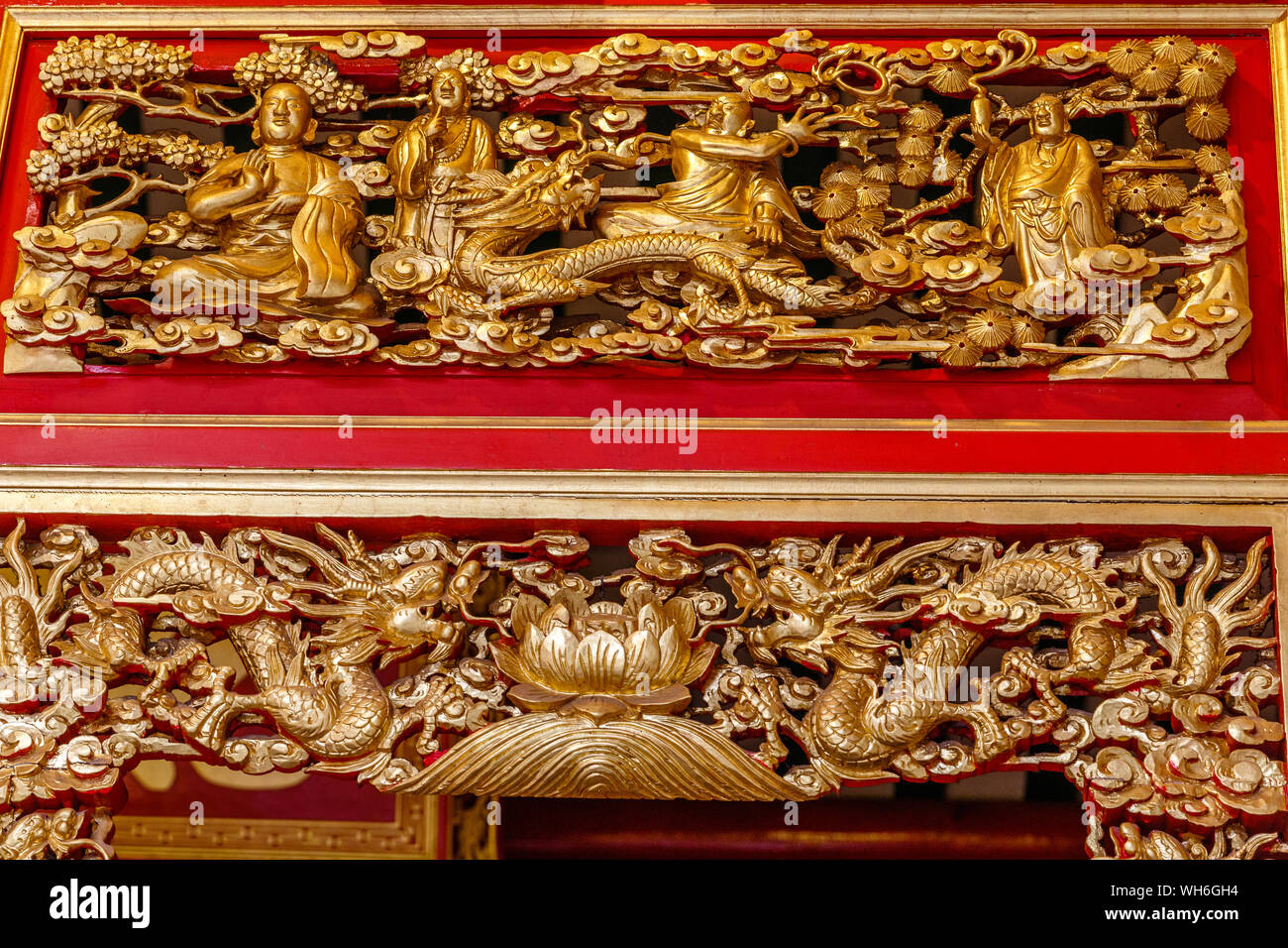 Gold painted carving at Wat Mangkon Kamalawat or Wat Leng Noei Yi, largest and most important Chinese Buddhist temple in Bangkok, Thailand Stock Photo
