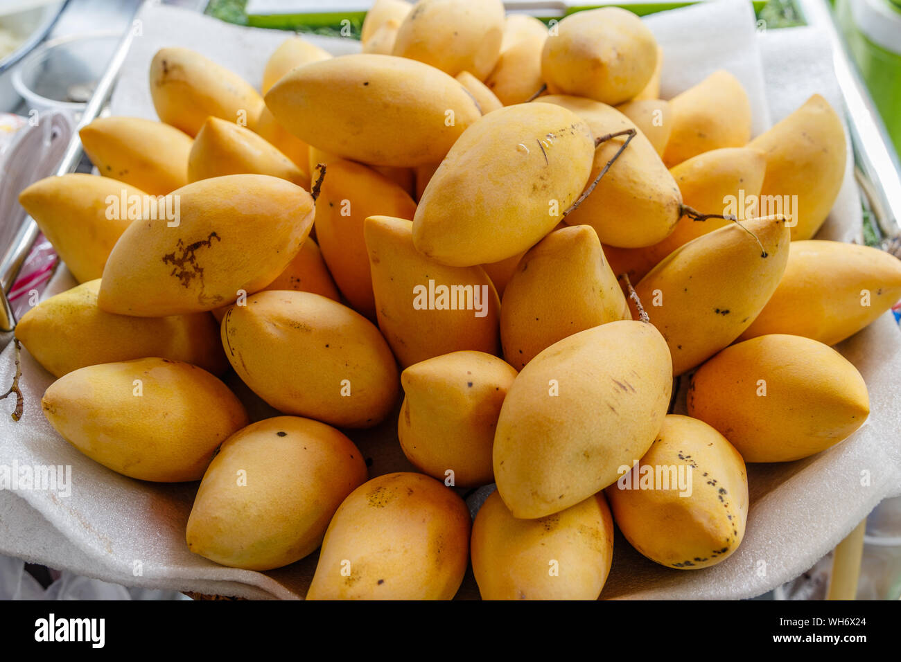 Yellow Thai mango on a local market. Bangkok, Thailand. Stock Photo