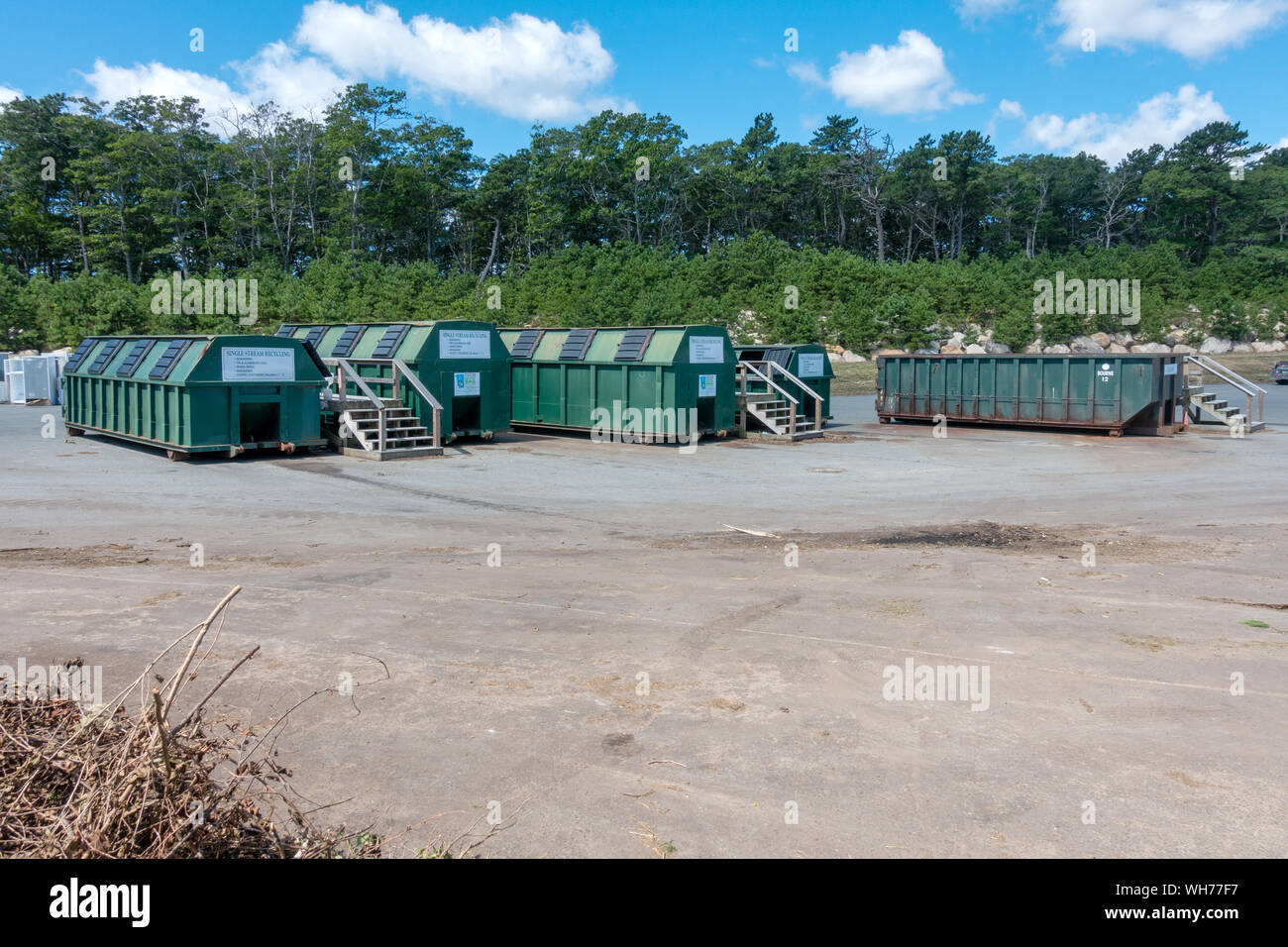 Single Stream recycling center containers for glass, plastic and paper at US landfill at the Bourne Integrated Solid Waste Management facility Stock Photo