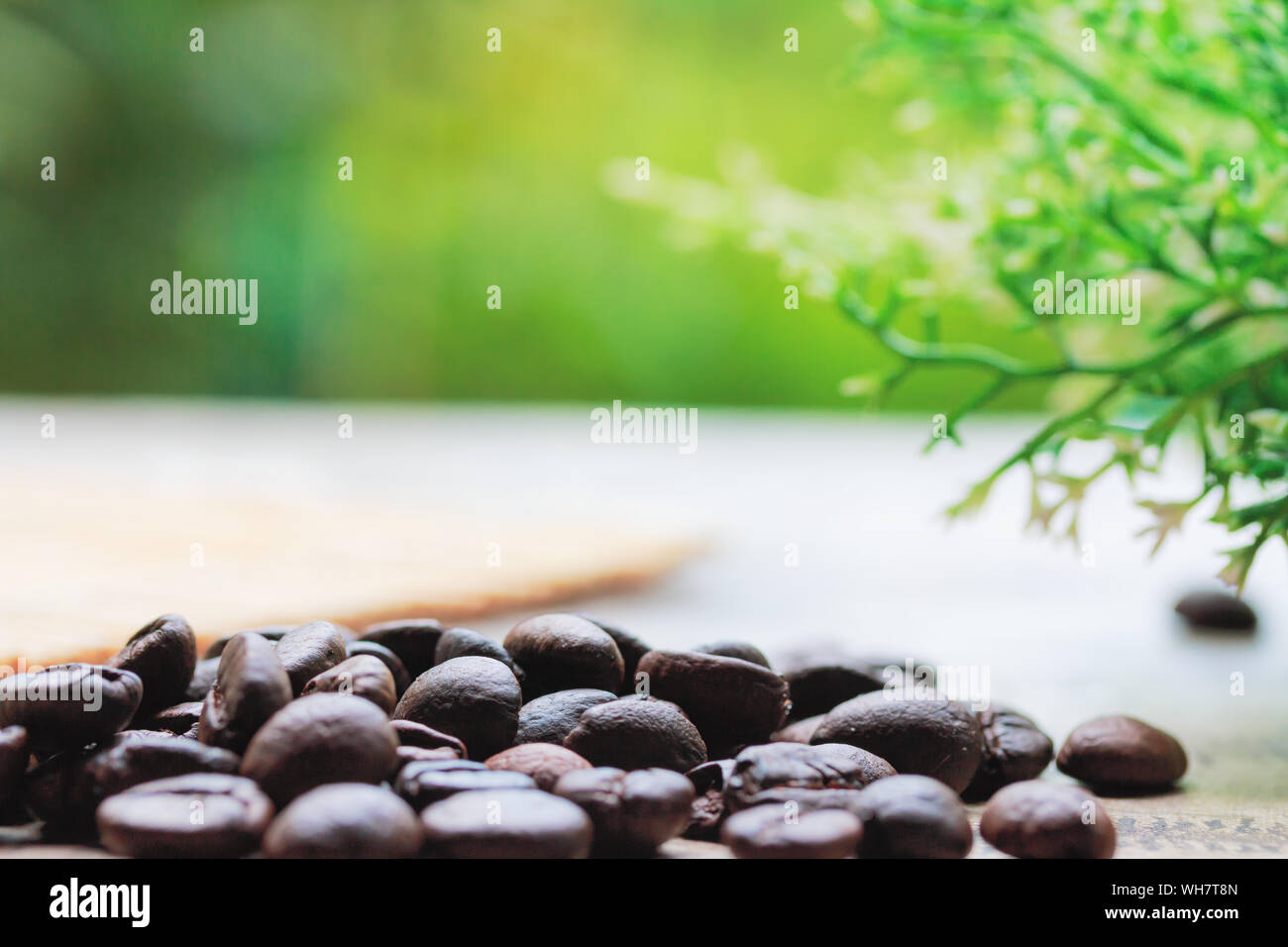 Close Up Of Coffee Beans On Table Stock Photo 268777397 Alamy