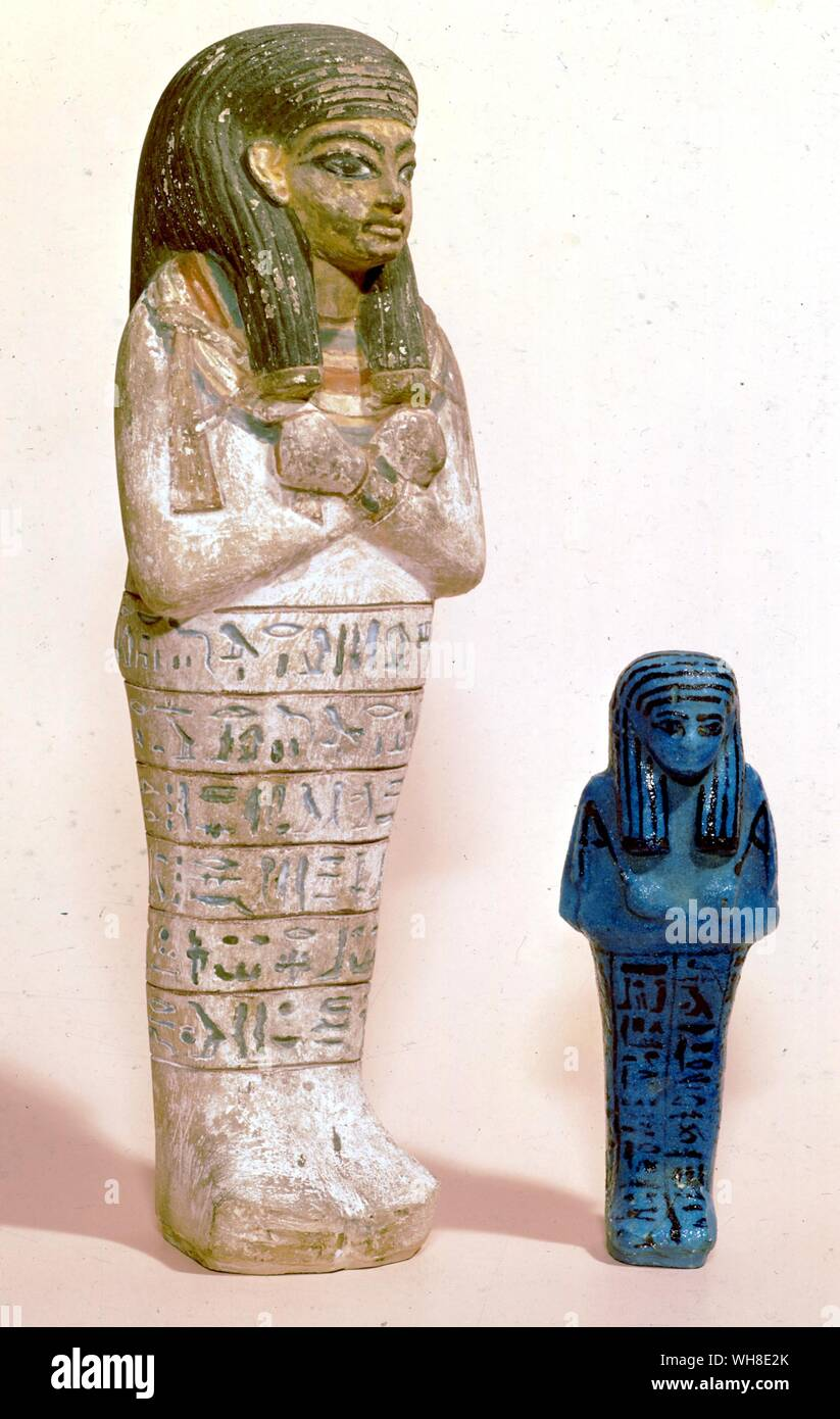 Two Shabtis from Ashmolean. XXI Dynasty. Painted XVIII - XIX Dynasty. Egypt under the Pharaohs by Barbara Sewell, p17, pl 1.. . Stock Photo