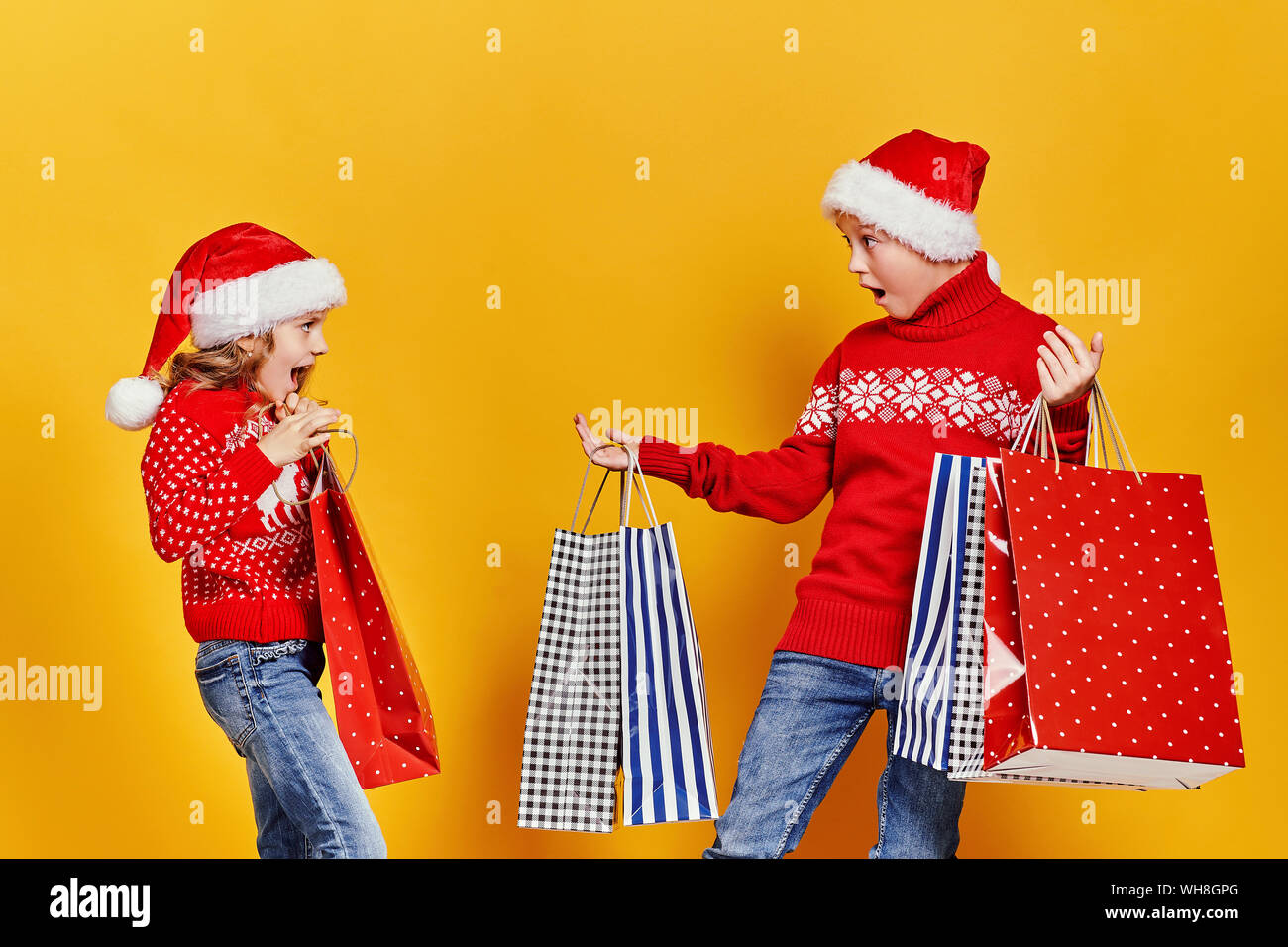 Cute Christmas Gifts For Girlfriend.Cute Little Girl In Santa Hat Hanging Shopping Bag With