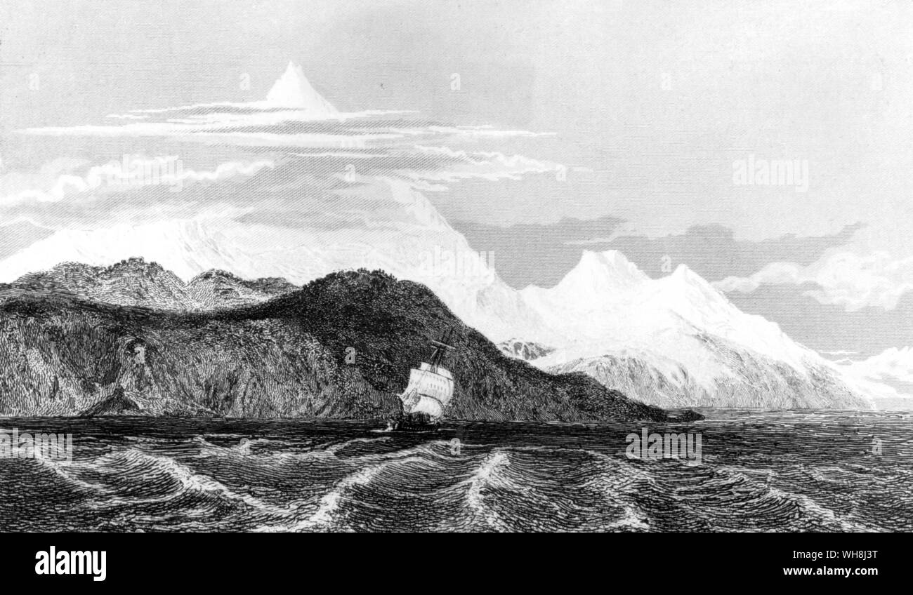 The Beagle at the foot of Mount Sarmiento in Tierra del Fuego (South America). During his momentous voyage, Darwin made a series of observations that led him seriously to question, for the first time, the literal truth of the Bible. Darwin and the Beagle by Alan Moorhead, page 97. Stock Photo