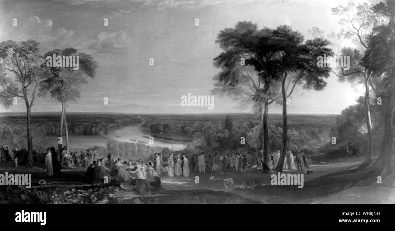 The view of Richmond Hill on the Prince Regent's Birthday 1851 Stock Photo